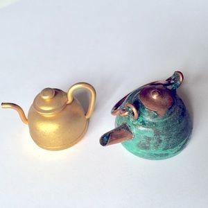 2 Miniature brass tea kettles collectible